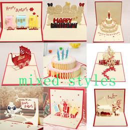 Всплывающая карта торта онлайн-10styles mixed 3D card birthday cake 3D Pop UP подарочные поздравительные открытки ручной работы бумага творческие поздравительные открытки