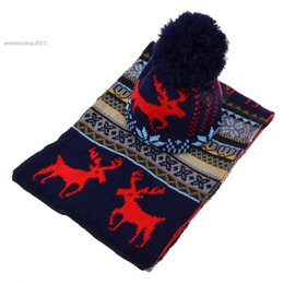 Wholesale Men Scarf Knit Pattern - Wholesale-Big Sale New Women Long Scarf Shawl + Ski Hat Set Ladies Sweet Deer Pattern Winter Warm Thickening Knitted Scarf Hat 29
