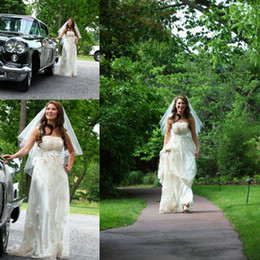 Wholesale Empire Waist Strapless - Vintage Inspired Gatsby Wedding Gowns Charmeuse and Lace Empire Waist Spaghetti Strap Custom Made Plus Size Maternity Bridal Dress