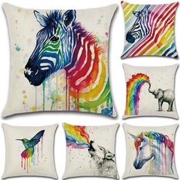 Wholesale bird throw pillows - Rainbow Animal Printed Pillow Case 45*45cm Zebra Unicorn Elephant Wolf Bird Panda Linen Pillow Case Throw Cushion Cover OOA3406