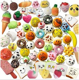 Wholesale Rainbow Cars - 2017 30pcs lot squishies toy Slow Rising Squishy Rainbow sweetmeats ice cream cake bread Strawberry Bread Charm Phone Straps Soft Fruit Toys