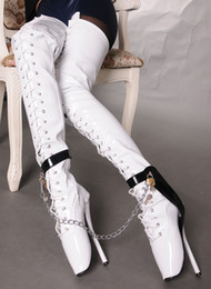 2019 sexo candado Wonderheel Extreme 18 cm tacón de aguja sobre la rodilla botas de ballet botas hasta el muslo SEXO alto fetiche BDSM candados cerrados con cordones entrepierna botas sexo candado baratos