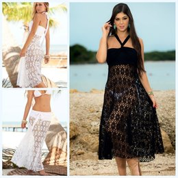 2019 bikini ad uncinetto New Hot Womens Crochet Pizzo Bikini Coverups Gonna Dress Nero Bianco Hollow Out Wrap Dress Smooth Boho Vacanza Beachwear Dress 846 sconti bikini ad uncinetto