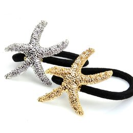 Argentina Moda Starfish star Pony Tails Holder gomas elásticas manguito para mujeres niños oro plata Cinco puntas star Hair Jewelry head dress 170055 cheap rubber cuffs Suministro