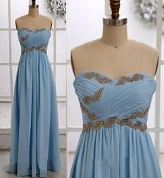 Wholesale Cheap Natural Diamonds - Light Sky Blue Cheap Prom Dresses Diamonds Pleats Bridesmaids Draped Chiffon Evening Wear Vestido De Fiesta Occasion Backless WWL