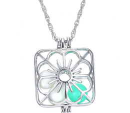 Wholesale Hollow Box Lockets - Fashion Square Box With Flower Design Statement Necklace Hollow-out With Glowing Pearl Pendant Necklace Cute Lady Girl Gift 10PCS LOT