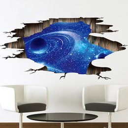 Wholesale Baby Outer - New Fashion Outer Space Planets 3D Wall Stickers Cosmic Galaxy Wall Decals For Kids Room Baby Bedroom Ceiling Floor Decorations