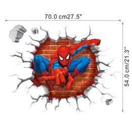 Wholesale Removable Wall Decals Spiders - 2015 New Spider Man wall stickers 3D wallpapers wall decals Spider Man children removable wallpaper for kids room