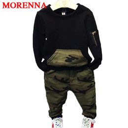 Wholesale Cool Boys Clothing Brands - MORENNA Cool Boys Clothing Sets 2017 Autumn Kids sport suit full sleeves blouse + pants suits Kids tracksuits for 2-8 years