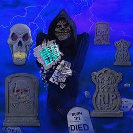 wholesale fashion 7pcs big prop foam graveyard tombstones set halloween haunted house decoration 22 uk