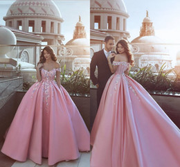 Wholesale Sexy Satin Baby - Special Design Baby Pink Ball Gown Evening Dresses with Hand Made Flowers Off the Shoulder 2018 Prom Party Wear