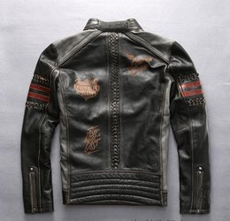 Wholesale Avirex Jackets - vintage black hand Weave Avirex fly genuine leather jackets slim fit motorcycle jacket