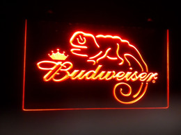 Wholesale Red Led Signs - b-11 Budweiser Frank Lizard Beer Bar LED Neon Light Signs