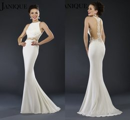 Wholesale Janique Prom - 2017 Janique Prom Gowns For Women Jewel Neck Sleeveless Sheath Mermaid White Appliques Lace Sweep Train Formal Party Evening Dresses