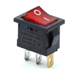 Wholesale 125v Ac Free Shipping - Free Shipping 5Pcs Red Light 3 Pin AC 6A 250V 10A 125V ON-OFF SPST Snap in Boat Rocker Switch order<$18no track