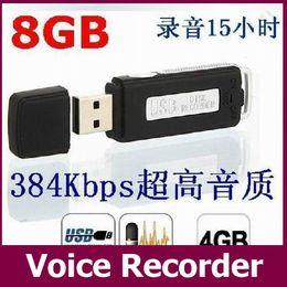 Wholesale Usb Digital Audio Voice Recorders - HTSK-868 USB MEMORY STICK Portable Rechargeable 8GB 16GB HQ 650Hr Digital Audio Voice Recorder Pen Dictaphone Black 30pcs lot