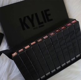 Wholesale Dhl Box Size - Kylie Cosmetics 11 New Velvet Liquid Lipstick Kit Kylie Jenner Lipstick Lip Gloss Black Box DHL shipping