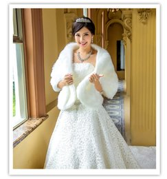 Wholesale Real Steal - New Free Shipping White Faux Fur Pearl White Winter Shrug Capes Stole Wrap Shawl Wedding Bridal 2015 Bride Bridesmaid Cheap Real Image