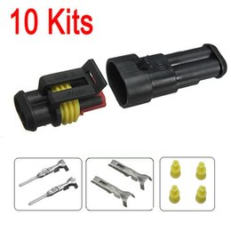 Wholesale Electrical Connectors Free Shipping - 10sets New Car Part 2 Pin Way Sealed Waterproof Electrical Wire Auto Connector Plug Set FREE SHIPPING
