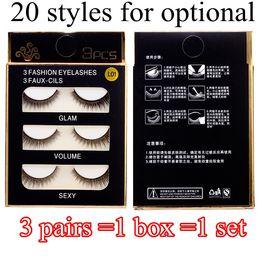 Wholesale Hand Made Boxes - 20 Styles Fashion False Eye Lashes 3D Nature Cross Thick False Eyelashes Extension 3 pairs box Eye Makeup Handmade Fake Eyelashes DHL Free