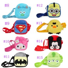 Wholesale Spiderman Wallets - cute children girl   teenager cartoon character Plush Coin Purse batman spiderman helloKitty 15style choose Wallet young lady phone purses