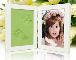 Wholesale Wholesale Wooden Picture Frames - Wooden Picture Frames for Photo Baby Hand and Foot Prints Inkpad Infant Baby Photo Frame marcos para fotos porta retrato D5660