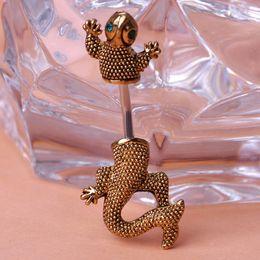 Wholesale Access Jewelry - ashion Jewelry Body Jewelry New Design Gecko Lizard Piercing Navel Belly Button Rings Body Piercing Jewelry Bijuterias Personality Access...