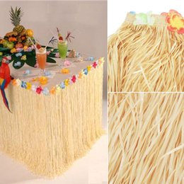 Wholesale Hawaiian Luau Party - 2017 Tropical Plastic Table Skirt Coloful Flower Grass Hawaiian Luau Garden Beach Party Table Skirts Party Events Decoration 275x75cm