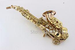 шейный инструмент Скидка Фосфорная бронзовая медная изогнутая шея Soprano Saxophone Bb Настройте ключ клавишей High F и клавишей G High High Quality Musical Instrument