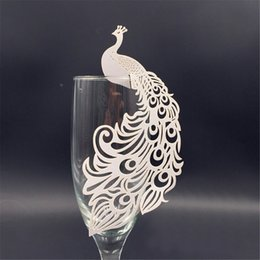 Wholesale Peacock Favors - Wholesale- 50pcs Peacock laser Cut Paper Place Card Escort Cup Card glass wine charms wedding favors and gifts baby shower party supplies