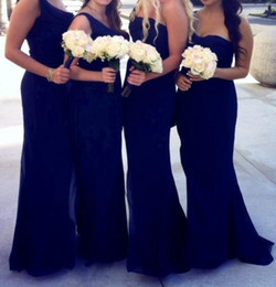 Wholesale Affordable Bridesmaid Dresses Lavender - Gorgeous Strapless Sweetheart Pleats Floor Length Affordable Chiffon Affordable Mermaid Royal Blue Bridesmaid Dresses