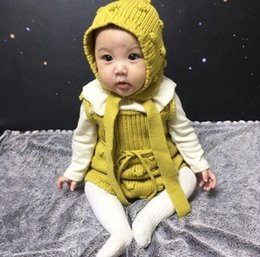 Wholesale Light Blue Baby Romper - INS 2018 spring autumn Style new arrival baby kids Cotton knitted baby romper high quality cotton Handmade bubble Knitting wool romper