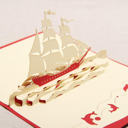 "Wholesale Origami Handmade - Have a Nice Trip The Creative ""Sailing Boat"" Handmade Kirigami & Origami 3D Pop UP Greeting Cards Free Shipping (set of 10)"