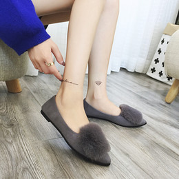 Wholesale Atmosphere Shoes - 2017 spring autumn imitated rabbit hair shoes south Korean version of women's shoes,Fashion atmosphere In vogue