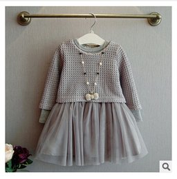 Wholesale Two Piece Coat Dress Girls - Girls Outfit Baby Girls Knit Dress Infant Outwear Girls Boutique Clothes Two Pieces Dresses Kids Knitting Long Sleeve Winter Outwear m0936