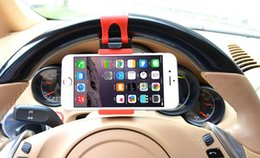 Wholesale Ipad Wheel - wholesale universal Car Steering Wheel Mount Phone Holder Car Mount Bracket Rubber Band Mobile phone support IPad MP4 GPS Mobile Phone Stand