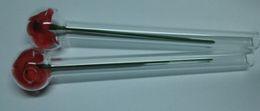Wholesale valentine glass rose - Happy Valentine 6 inch glass Rose oil burner clear glass pipe glass tube