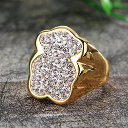 Wholesale Gold Does Fade - Ring female 2017 new European and American bear shaped diamond simple titanium steel plating 18k gold does not fade ring