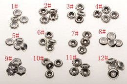 Wholesale Bulk Rubber - Hot ! 48Pcs Ancient Sliver Bulk Shiny Stopper Rubber Beads Fit Charms Bracelet 12 style