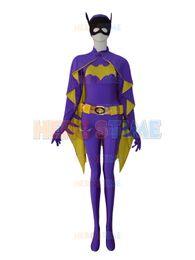 Wholesale Purple Zentai - Newest Batgirl Purple Female Superhero Costume fullbody zentai suit