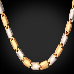 Wholesale Italy Gold Necklace - Unisex Platinum 18K Real Gold Plated New Trendy 22'' Fancy Italy Two Tone Gold Chain Necklace