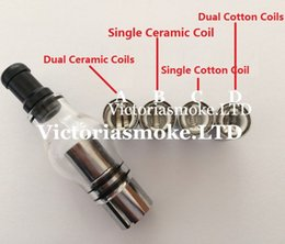 Wholesale Herb Tank Ceramic - Glass Globe Atomizer Glass Globe Tank Wax And Herb Vaporizer Dual coil Replacement Ceramic Cotton Coils Glass Atomizer Wax Glass Aomizer