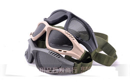 Wholesale Airsoft Mesh Goggles - men CS Tactical Airsoft Paintball glasses Steel Mesh Eyes Protective Goggles Glasses Khaki green black