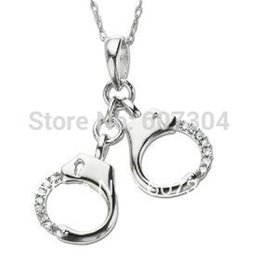 Wholesale Handcuffs Jewelry - Fashion design 5pcs a lot rhodium plated handcuff with crystal pendant necklaces jewelry