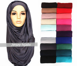 Wholesale Wholesale Long Muslim Shawl - 10pcs lot mixed solid plain hijab scarf fashion wraps foulard viscose cotton maxi shawls soft long islamic muslim scarves hijabs