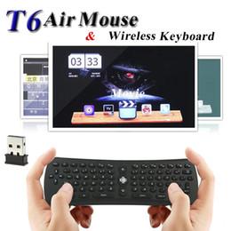 Giroscópio mouse sem fio android on-line-Teclado sem fio T6 Mini Air Mouse 2.4 Ghz Giroscópio Controle Remoto Combo para M8S MXQ S905X Caixa de TV Android Media Player PC VS i8