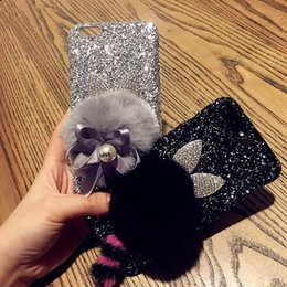Wholesale Cat Bling Iphone Cases - For iphone 6 6s 7 8 plus Luxury Cute Rabbit Love pearl bow cat tail fur pompom glitter bling soft phone case cover