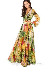 Wholesale Tropical Floor Length Dress - Women's Tropical Leaf Print Chiffon Maxi Dress V Neck Long Sleeve Floor_Length Party Dress A-Line Summer Beach Long Dress XS-XXL