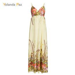 Wholesale Three Quarter Length Dresses - Yolanda Paz 2018 Summer Women Floral Print Maxi Dress V-Neck Three Quarter Sleeve Casual Long Dress Plus Size Women Dresses