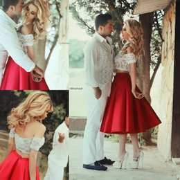Wholesale Engagement Dresses Sleeves - Two Pieces Evening Dresses 2015 Short Cocktail Party Dresses A Line Off Shoulder Lace Top Low Back Tea Length Red Homecoming Engagement Gown
